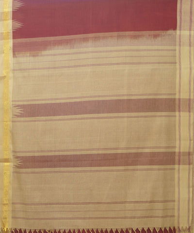 Salem Handloom Cotton Saree in Maroon and Cream