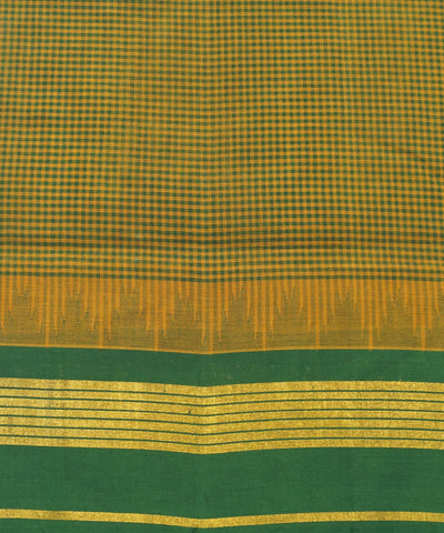 Salem Handloom Cotton Saree in Mustard Green