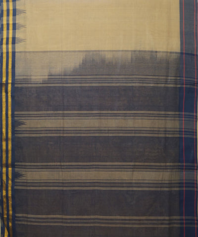 Salem Handloom Cotton Saree in Cream and Blue