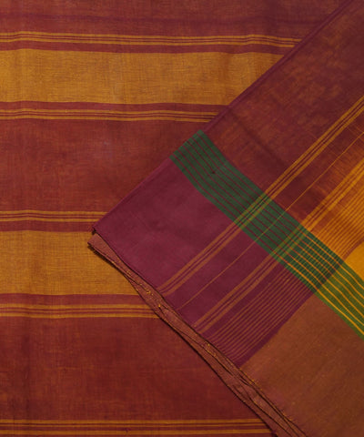 Salem Handloom Cotton Saree in Yellow Maroon