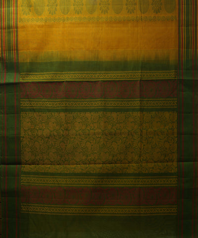 Loomworld Handwoven Yellow And Green Salem Cotton Saree