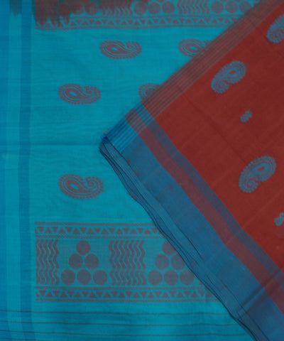 Loomworld Handwoven Red And Blue Salem Cotton Saree