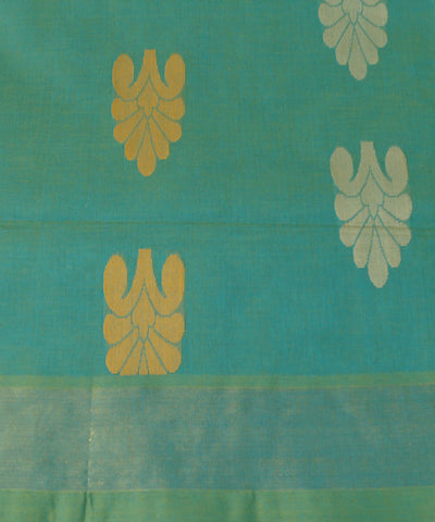 Loomworld Handwoven Cyan and Yellow Salem Cotton Saree