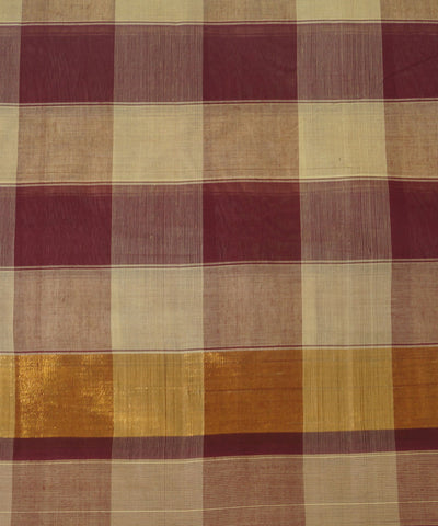 Maroon Cream Handloom Salem Cotton Saree