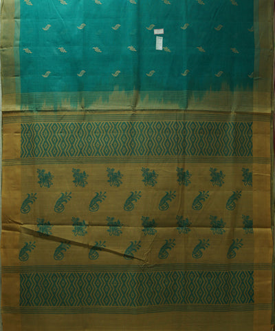 Loomworld Handwoven Cyan Salem Cotton Saree