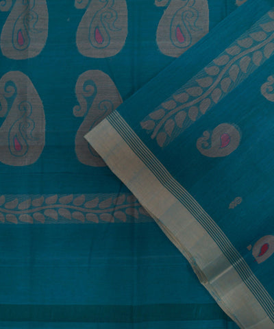 Loomworld Handwoven Blue Salem Cotton Saree
