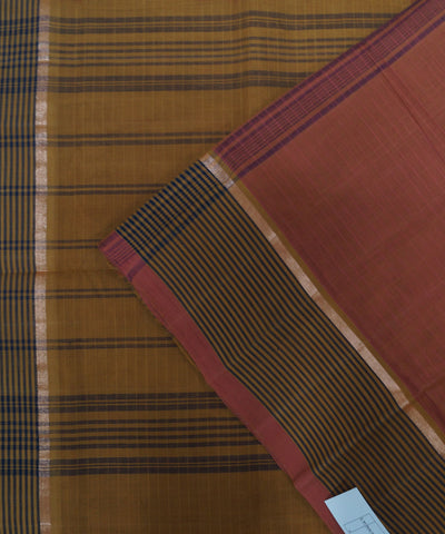 Loomworld Handwoven Brown Salem Cotton Saree