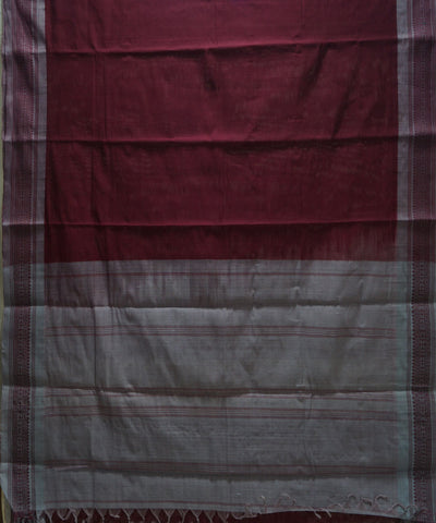 Loomworld Handwoven Wine And Grey Kanchi Cotton Saree