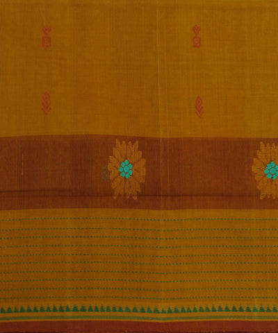 Loomworld Handwoven Yellow And Maroon Salem Cotton Saree