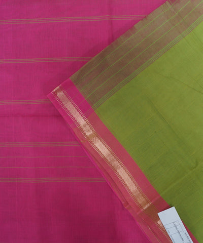 Loomworld Handwoven Green and Pink Salem Cotton Saree