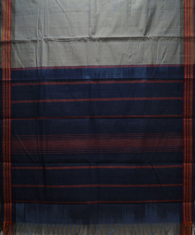 Loomworld Handwoven Grey And Blue Kanchi Cotton Saree