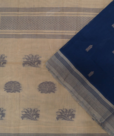 Loomworld Handwoven Blue And Cream Salem Cotton Saree