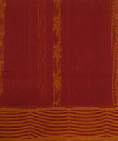 Loomworld Handwoven Flame Red Salem Cotton Saree
