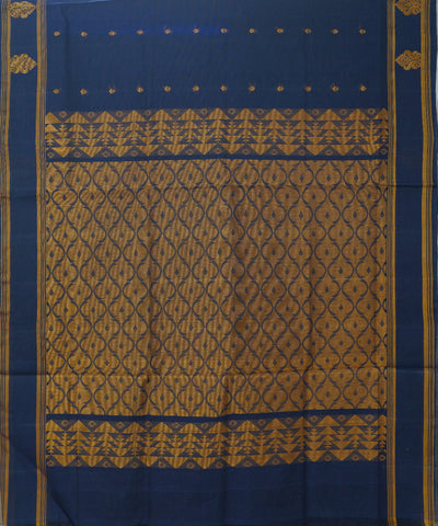 Loomworld Handwoven Dark Blue Salem Cotton Saree