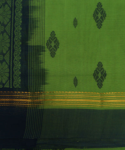 Loomworld Handwoven Green And Black Salem Cotton Saree