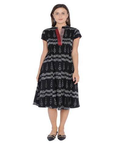 Black ikat a line cotton dress