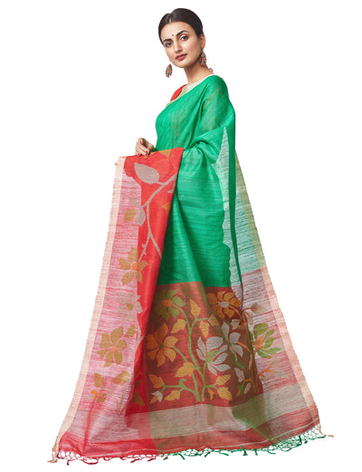 Biswa Bangla Handloom Matka Silk Jamdani Saree - Red & Green