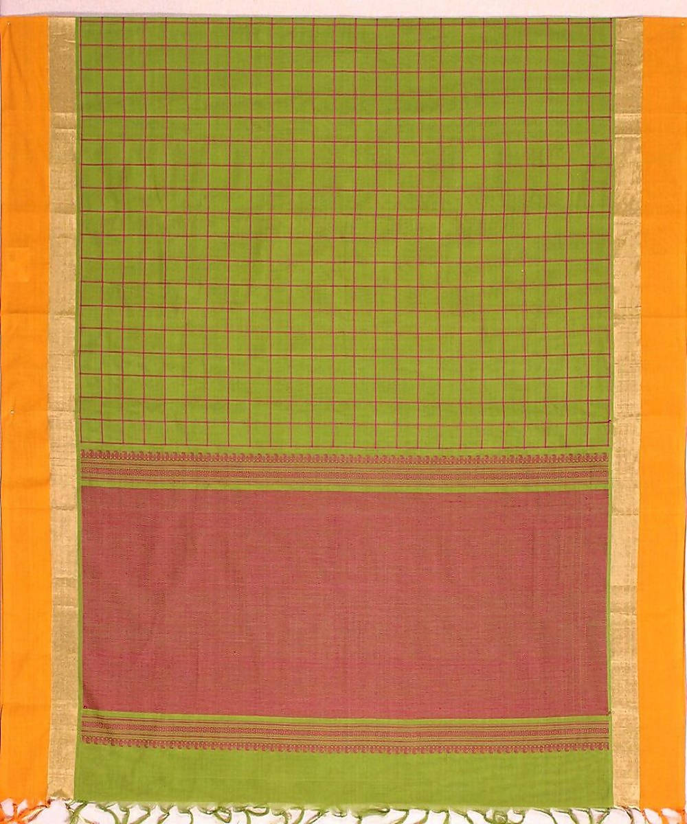 Lemon Green Handloom Kanchi Cotton Saree