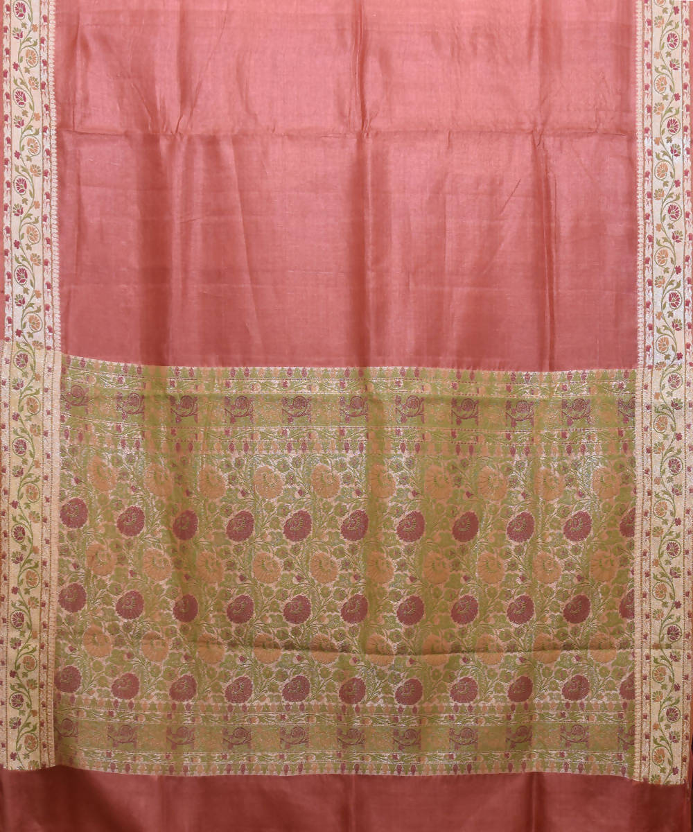 Banarasi Blush Red Handloom Silk Saree
