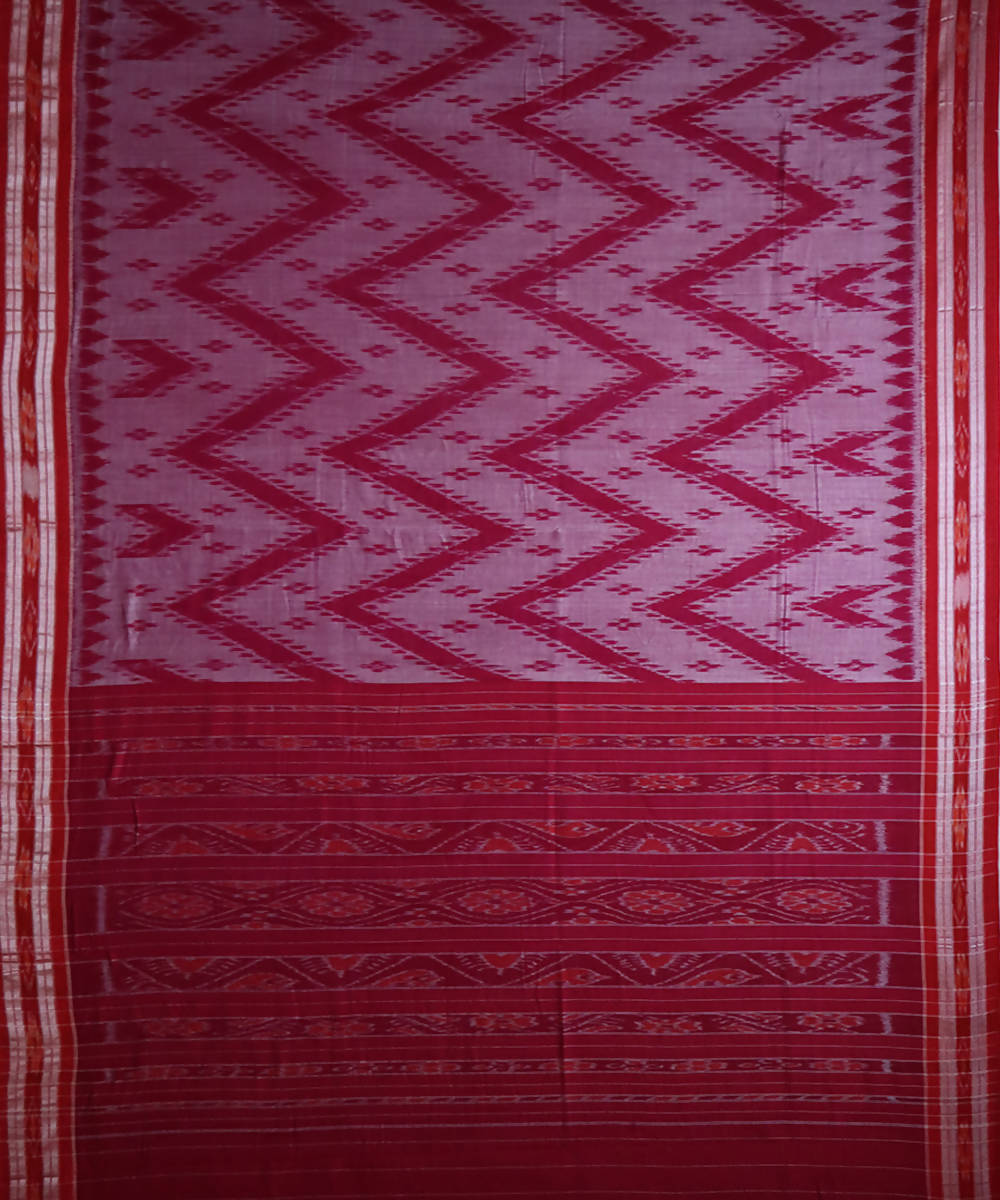 Deep pink cotton handloom nuapatna saree