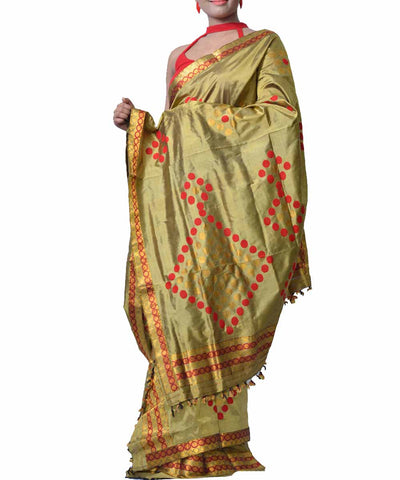 Olive Green Assamese Silk Saree