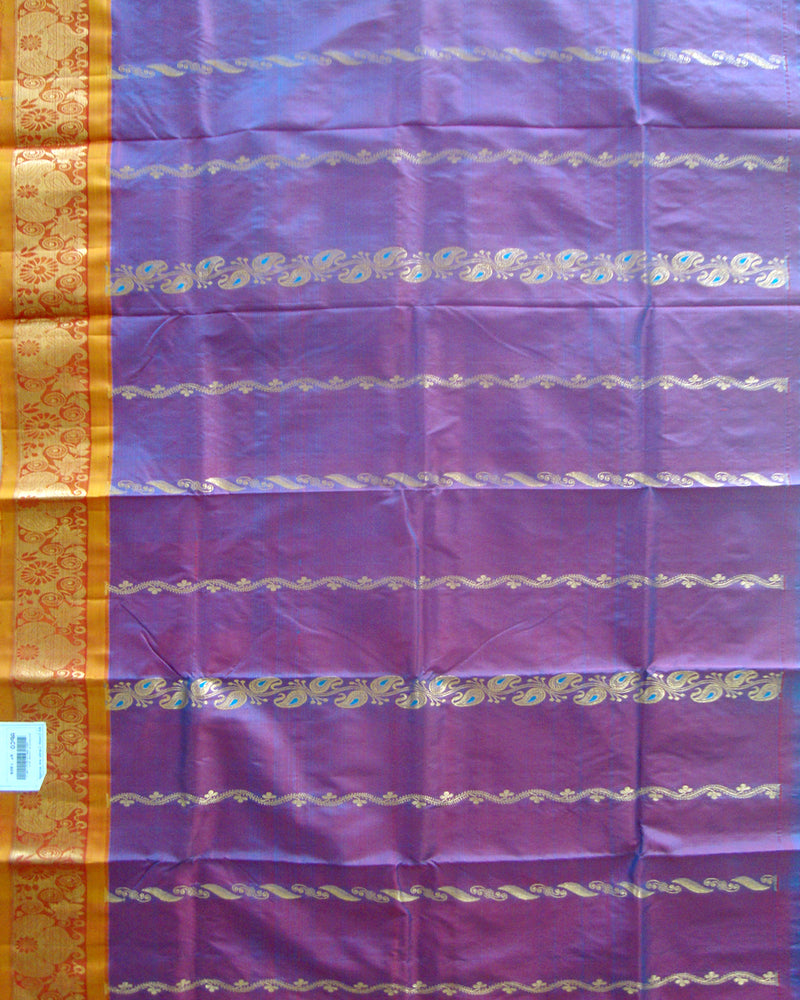 Dharmavaram Pure Silk Pavada Blue and Red