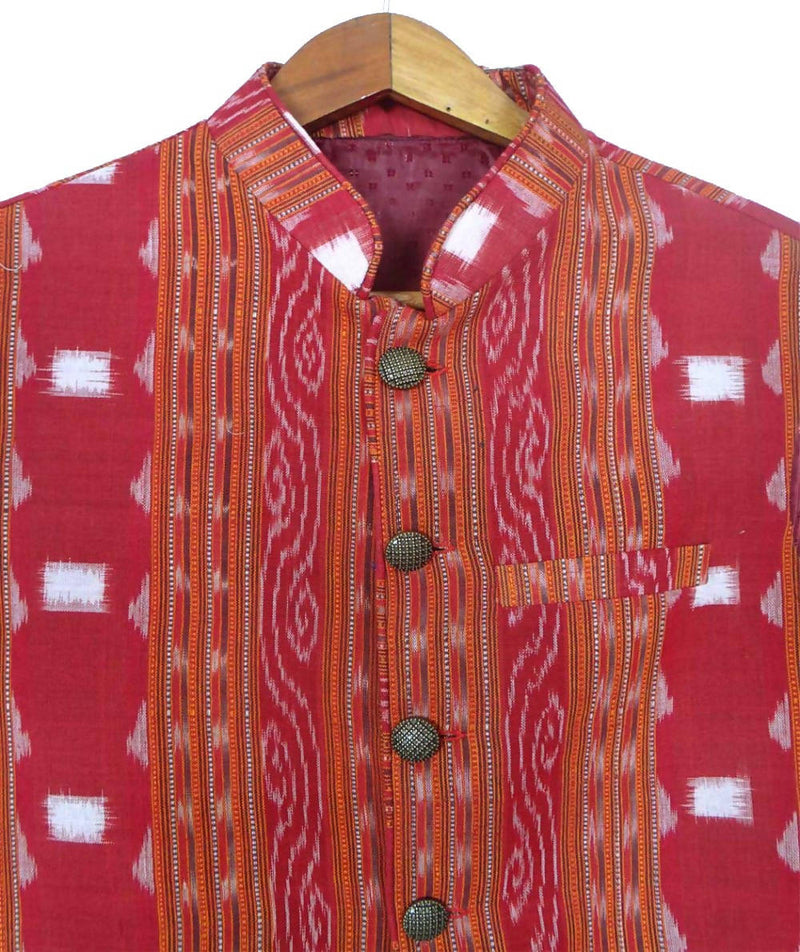 Maroon Sambalpuri Cotton Handwoven Sleeveless Jacket