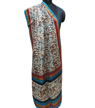 Off White Handloom Printed Tussar Stole