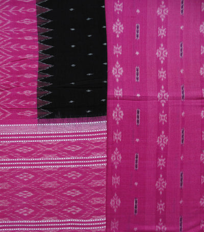 Traditional Pink And Black Sambalpuri Ikat tie And dye Cotton Dress Material