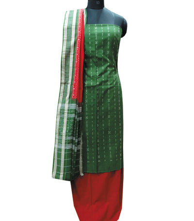 Traditional Apple Green And Red Sambalpuri Ikat tie And dye Cotton Dress Material