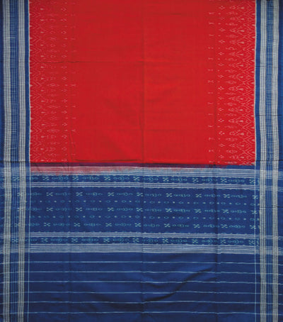 Traditional Brandeis blue And Red Sambalpuri Ikat tie And dye Cotton Dress Material