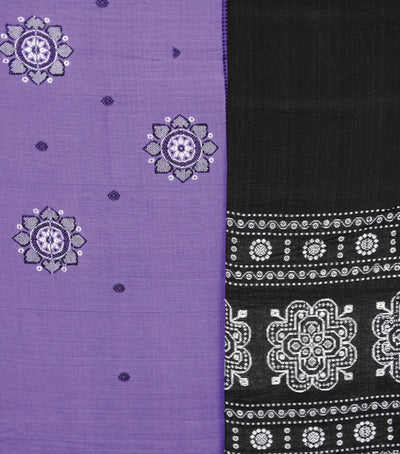 Traditional Violet And Black Bomkai Cotton Dress Material