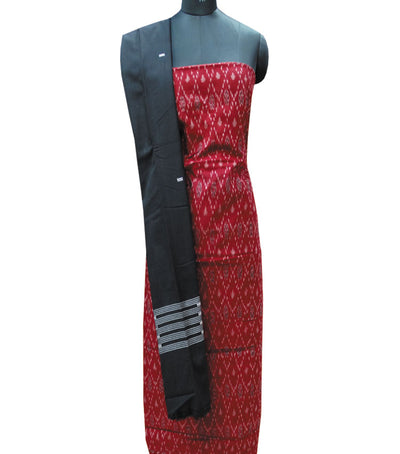Traditional Maroon And Black Sambalpuri Ikat tie And dye Cotton Dress Material