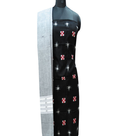 Traditional Black And Gray Sambalpuri Pasapalli Ikat tie And dye Cotton Dress Material
