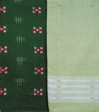 Traditional Apple Green And Light Green Sambalpuri Pasapalli Ikat tie And dye Cotton Dress Material