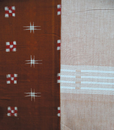 Traditional Chinese Red And Copper Crayola Sambalpuri Pasapalli Ikat tie And dye Cotton Dress Material