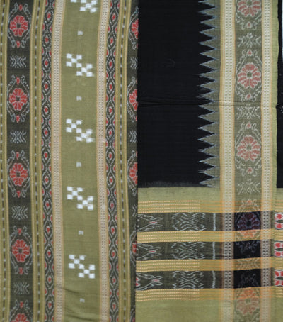 Traditional Brass And Black Sambalpuri Ikat tie And dye Cotton Dress Material