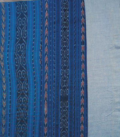 Traditional Brandeis blue And Blizzard Blue Sambalpuri Ikat tie And dye Cotton Dress Material