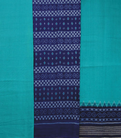 Unique Traditional Blue And Caribbean Green Sambalpuri Ikat tie And dye Cotton Dress Material