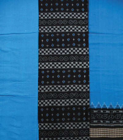 Unique Traditional Black And Brandeis blue Sambalpuri Ikat tie And dye Cotton Dress Material