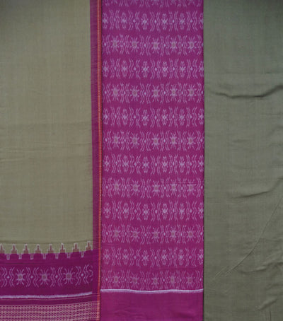 Unique Traditional China Pink And Dark Tan Sambalpuri Ikat tie And dye Cotton Dress Material