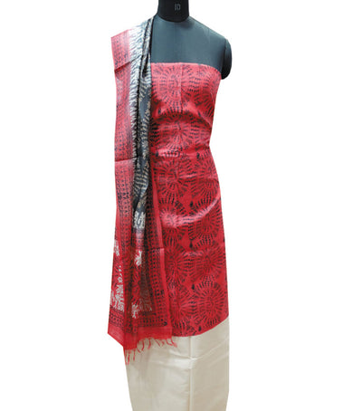 Exclusive Fire Engine Red Andblack Tussar printed Dress Material