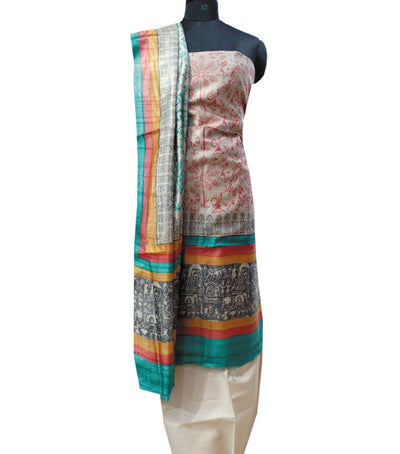 Exclusive Off White Red And Dark Cyan Tussar Tribal printed Dress Material