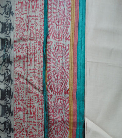 Exclusive Off WhiteDark Turquoise And Deep Cerise  Tussar Tribal printed Dupatta Dress Material