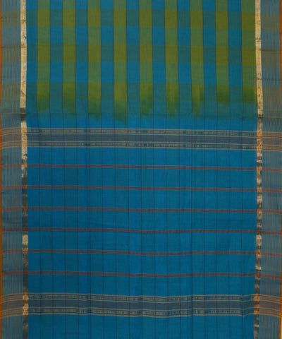 Blue Green Checks Handloom Salem Cotton Saree