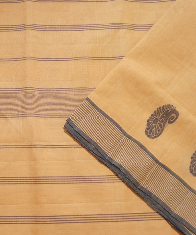 Brown Handloom Salem Cotton Saree
