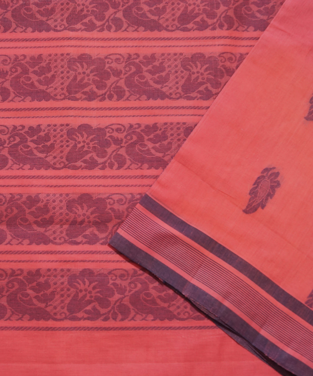 Peach Handwoven Salem Cotton Saree