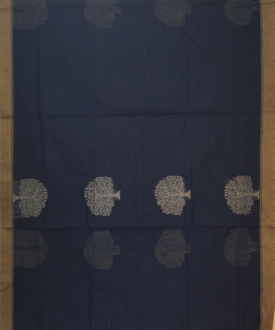 Blue Grey Handwoven Salem Cotton Saree
