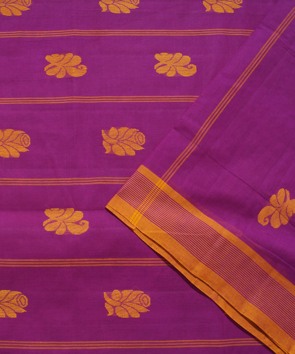 Purple Orange Handwoven Salem Cotton Saree