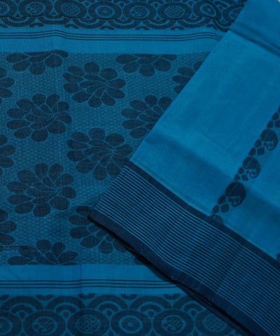 Handwoven Sky Blue Salem Cotton Saree